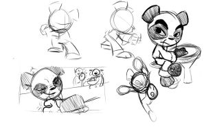 Panda Sensei Sketches by SuperRamen