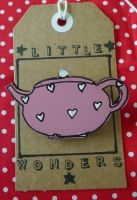 Pink Teapbot Brooch with White Hearts by LittleWondersShop