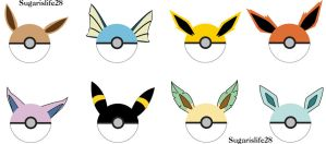 Eeveelution Pokeballs by sugarislife28