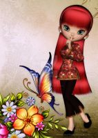 Asian Girl with Beautiful Flowers Greeting Card 1 by RedHeadFalcon
