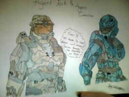 Red VS Blue- Agent York and Agent Carolina by TheDrakonSlayer