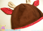 Brown and Red Floral Fleece Deer Hat by HeartGuardian