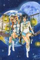 C: Sailor Moonburst and Sailor Earth Warrior by Cat-with-dark-eyes