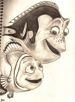 Dory and Marlin by cLaAaNdEsTiNe