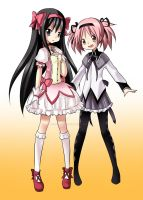 Madoka and Homura Costume Swap by Final-Boss-Emiko