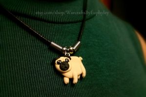 Polymer Clay Pug Necklace by Euphyley