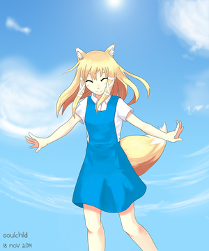 Fox and Sky by sidestreetsoul