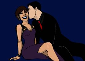 Selena Kyle x Bruce Wayne colored sketch by casandrastellag