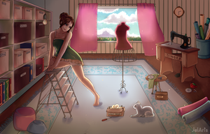 Sewing Room + Speedpaint by JelArts