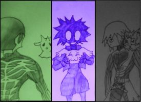 Darkness Trio and Digimon by IronClark