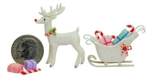 1/4 Scale CHRISTMAS WHITE REINDEER SANTA CLAUS SLE by WEE-OOAK-MINIATURES