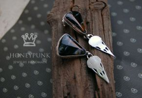 Earrings NeverMore. petersite,silver sterling by honeypunk