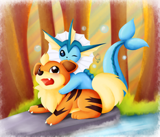 Pokemon Commission Vaporeon and Growlithe by Exceru-Hensggott