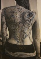 Full Back Piece Tattoo Concept by BeautifulDragon322