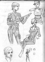 Black Widwo Sketches by NelsonBlakeII
