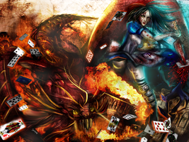 :: AMR:: Alice Vs. Jabberwocky Wallpaper by Sangrde