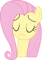 Fluttershy - Face Close Eyes Shh Vector by GT4tube