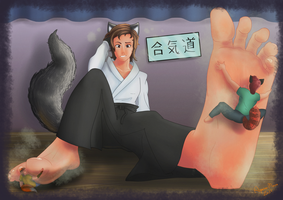[MALE GIANT, FEET]Surprise after aikido by Apeiron-MACRO