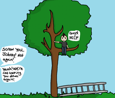 Jhonny's stuck in a tree by terrybeary10