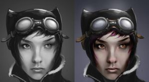 Kitty WIP 03 and colour test by rickystinger88