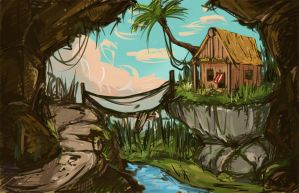 hut in jungle by annas-art