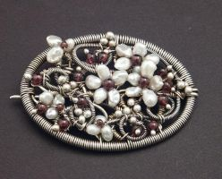 Pearl Floral Brooch by WiredElements