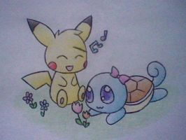 Pikachu and Squirtle by Nikaidu