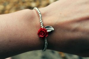 Gorgeous Red Gem Rose Flower Bracelet by Clerdy
