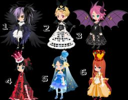 Dark and Princess Girls Trade to Adopt CLOSED by AdoptableSoulxHeart