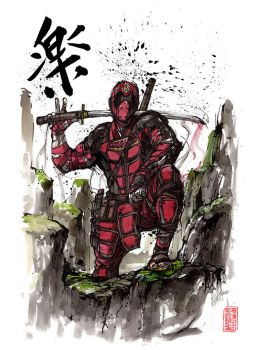 Deadpool with calligraphy by MyCKs