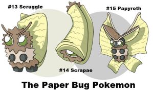 #013 - 015 The Paper Bug Pokemon by rohanfulton