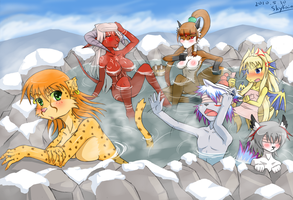 A rest in hotspring by SkyKain