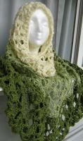 Green Scheme Head Shawl by doilydeas