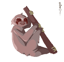 Tree Toed Sloth Pixel Art by LizChimati