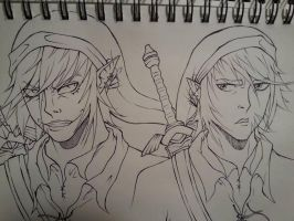 Link and Dark Link (WIP) by JustinEugene