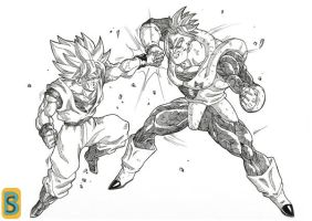 Goku ssj vs  A16 by bloodsplach