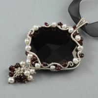 Onyx, Garnet and Pearl Necklace by Gailavira