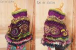 Green and purple spirals capelet by MademoiselleOrtie