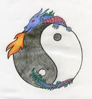 Yin Yang Dragon Tattoo by xALPHAxWOLFx