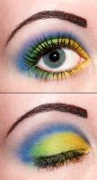Blue and yellow eyeshadow by Creativemakeup