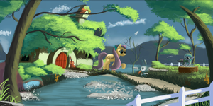 Fluttershy's cottege by Auroriia