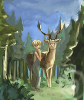 deer and boy by milkybee