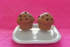 Chocolate Chip Muffin Earrings by Rotting-Soul