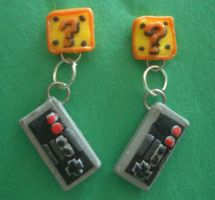 Nintendo Earrings by estranged-illusions