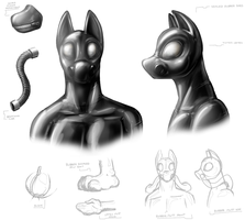 Realistic Rubber Doggy Suit Study by Redflare500