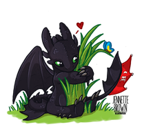 Chibi Toothless - Dragons Love Grass by sugarpoultry