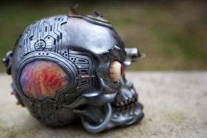 Steampunk Industrial Skull - Left Side by Devilish--Designs