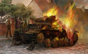 Burning tank by Victoria-Poloniae