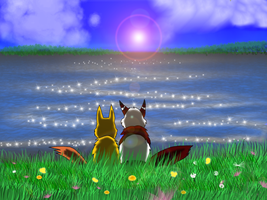 Buruddo and Hoshi at the Lake by AniiimeAddict