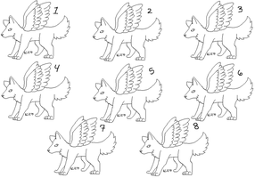 Free Lineart-Winged Wolves by lizziecat1279